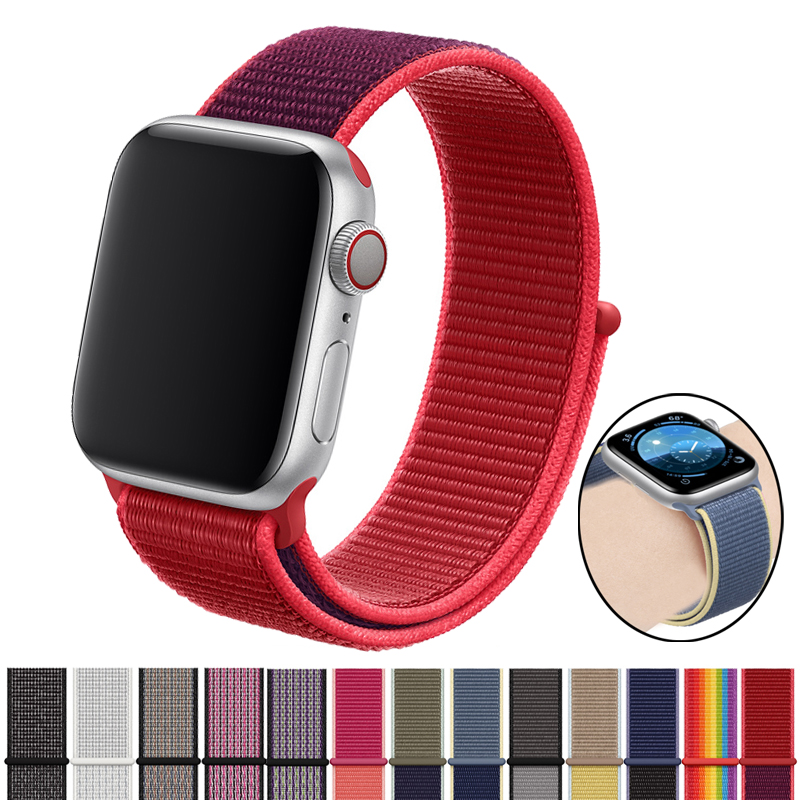 Correas For Apple Watch 5 4 Band 44mm 40mm Strap Sport Nylon Smart Accessories Bracelet For Apple Watch 3 2 1 5 4 Band 38 40 Mm