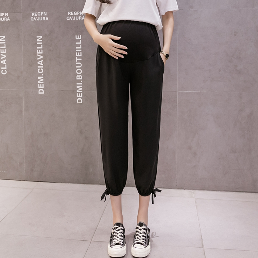 Pregnant Women's Casual Pants Lce Silk Summer Thin Loose Casual Outer Wear Fashionable Belly Lift Pants Tide Mom Pants