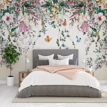 Custom 3D Wall Murals Wallpaper Watercolor Flower Vine Nordic Pastoral Mural Restaurant Guest Room Cafe Decoration Wall Painting