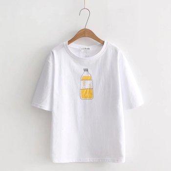 2018 nowy prosty projekt kreskówki wokół szyi czystej bawełny samokształcenie rutynowo najniższy Jersey kobieta t-shirty tanie i dobre opinie COTTON Krótki REGULAR Batik Stałe NONE Na co dzień O-neck