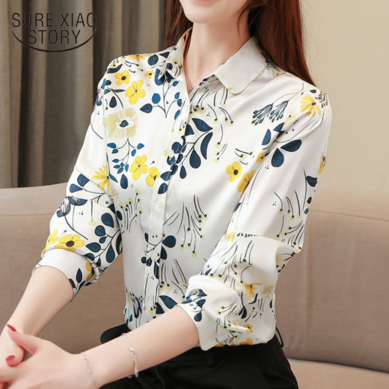 Silk Print Shirt 2019autumn New Female Long Sleeved Shirts Fashion Silkworm Silk Women Tops And Blouses Plus Size Tops 7049 50