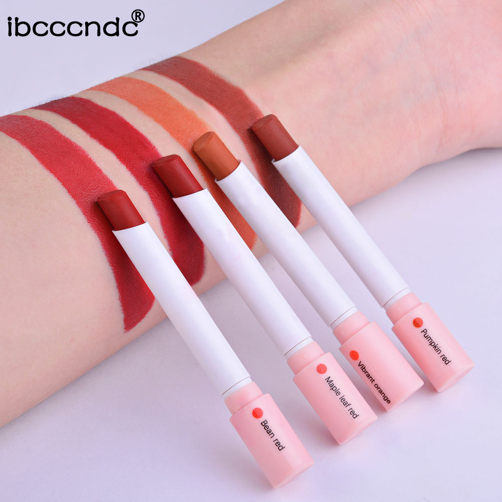 Купить с кэшбэком 4 Colors Lip Stick Velvet Matte Long Lasting Waterproof Cigarette Lipstick Fog Surface Sexy Nude Lipstick maquillaje batom