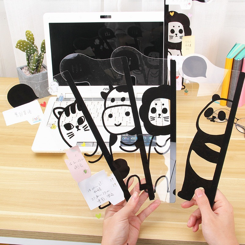 Creative Acrylic Portable Sticky Card Holder Note Transparent Monitor Message Memo Board Computer Screen Sticker Stationery