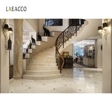 Laeacco Palace Interior Stairs Lamp Pillar Decoration Photography Backgrounds Customized Photographic Backdrops For Photo Studio