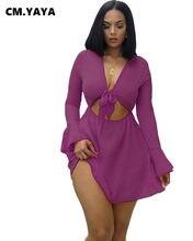 CMYAYA Grande Taille S-2XL PRINTEMPS Mini Robe Femmes À Manches Longues Moulante Nuit Bandage de Fête Rue Plage Robes Robes