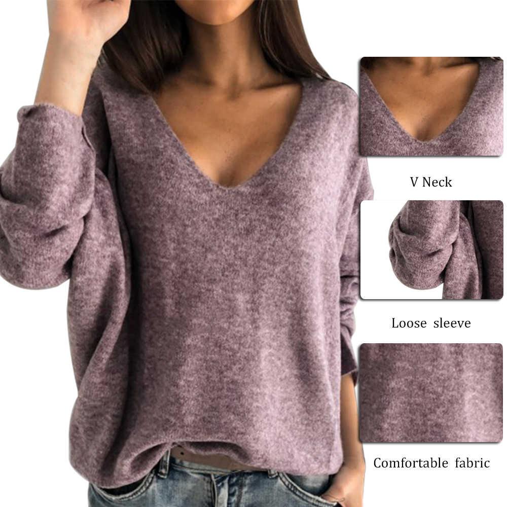 Oeak 2XL Sexy Hollow Keluar V-Leher Rajutan Sweater Wanita Musim Gugur Lengan Panjang Permen Dasar Atas Longgar Wanita Sweater dan Pullovers