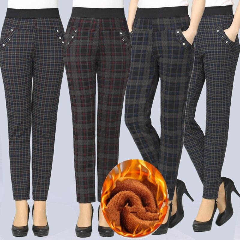 Large Size 2019 Spring Winter Women Grid Pants Warm Sweat Plus Velvet Pants Slim High Waist Stretch Pencil Pants Female Trousers