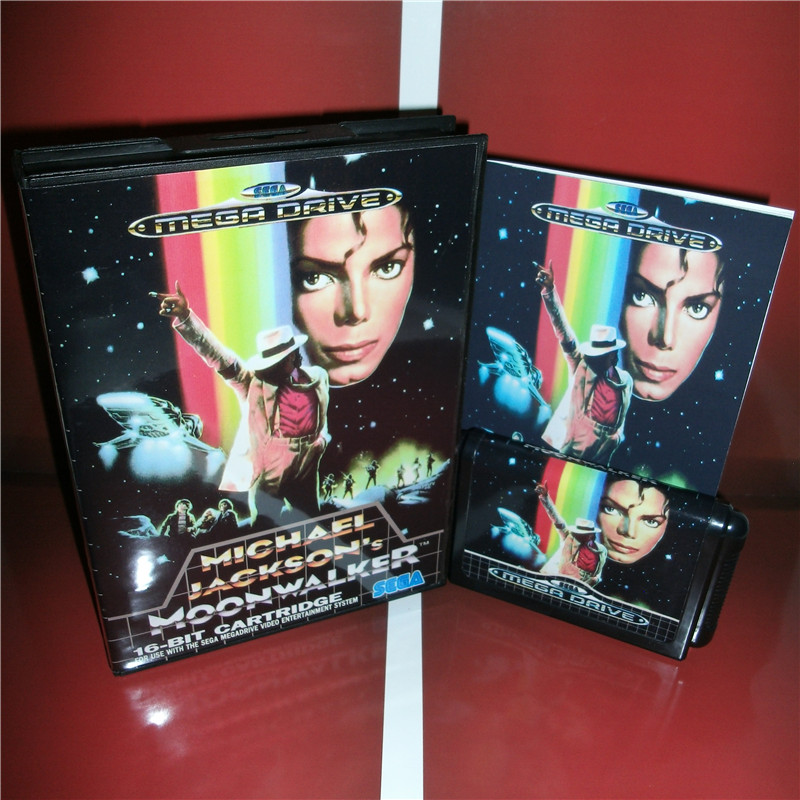 Michael Jackson's Moonwalker EU Cover with Box and Manual For Sega Megadrive Genesis Video Game Console 16 bit MD card image