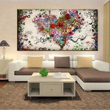 Wangart абстрактные красочные сердца цветы на холсте для картины