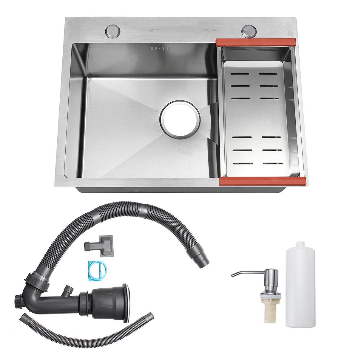 Évier de cuisine en acier inoxydable simple fente plat bassin 62*45cm lave-vaisselle avec panier de vidange distributeur de savon tuyau de vidange