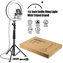 26cm/10inch LED Selfie Ring Light Dimmable LED Ring Lamp Photo Video Camera Phone Light ringlight For Live YouTube cellphone xcht for hp pavilion x360 convertible 11 11t 11 k 11t k1xx series 829211 601 uma celn3050 laptop motherboard mainboard tested