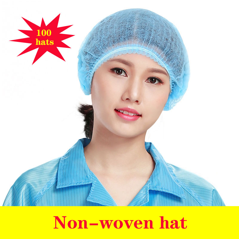 Disposable Medical Caps Non-woven Fabric Surgical Cap 100 Hats Beauty Salon Caps Factory Food Medical Worker Hats Shower Hat