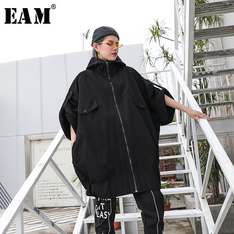 [EAM] Women Black Hollow Out Badage Big Size Trench New Lapel Long Sleeve Loose Fit Windbreaker Fashion Autumn Winter 2019 1B314