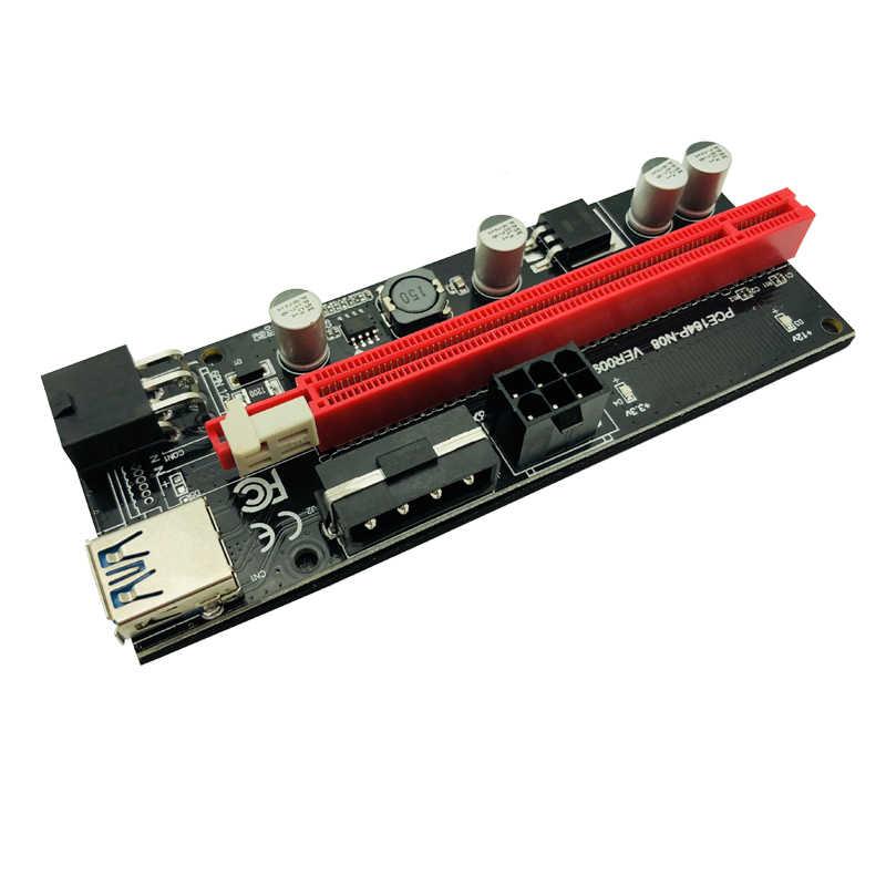 6 個最新 Ver009 Usb 3.0 Pci-E ライザー版 009S エクスプレス 1X 4X 8X 16X エク sata 15Pin に 6 ピン電源ケーブル