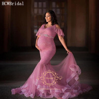 Dusty Rose Lace Pregnant Women Evening Dress V Neck Short Sleeves Mermaid Maternity Dresses For Photo Shoot Plus Size Prom Gowns