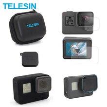Teelsin mini caso da câmera de tela lente filme capa quadro caso cpl lente filtro 5 pacote acessórios conjunto para gopro hero 7 6 5