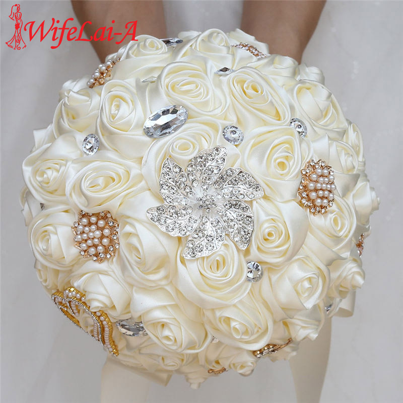 WifeLai-A 20CM Ivory Silk Rose Artificial Flower Bouquet Handmade Bridesmaid Bouquet Rhinestone Holding Flower Buque Noiva W373D