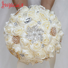 WifeLai-A 20CM Ivory Silk Rose Artificial Flower Bouquet Handmade Bridesmaid Rhinestone Holding Buque Noiva W373D