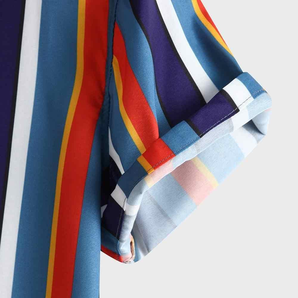 Yeni yaz erkek şerit kısa kollu gömlek 2020 gevşek rahat renkli moda gömlek erkek pamuk plaj hawai gömlek FM040