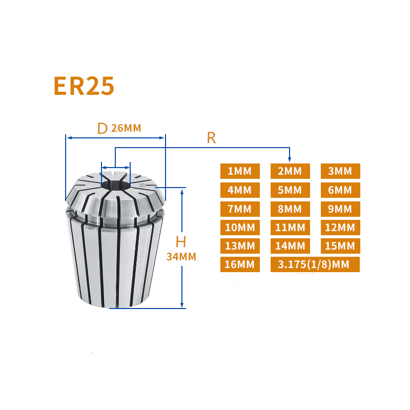 ER25 2mm to 16mm Spring Collet For CNC Milling Engraving Lathe Tool