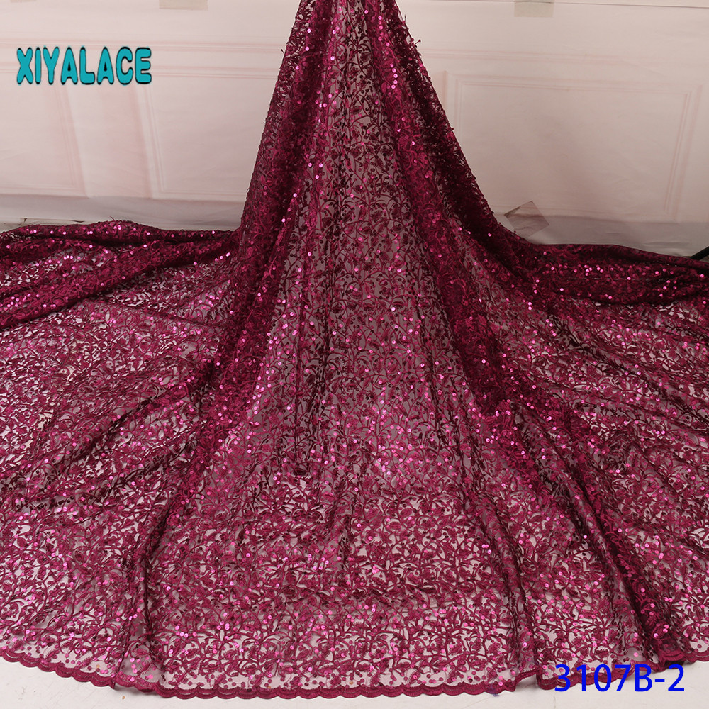 Red Nigerian African Lace Fabrics 5Yards Lace Fabric High Quality Sequins Lace Fabric For Wedding Dress French Lace YA3107B-2