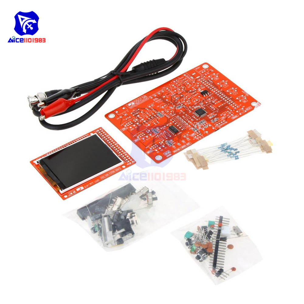 DSO138 ARM DIY Kit Digital Frequency Oscilloscope 2.4 with Probe STM32 Processor Welded Making Accessories//Black /& Red