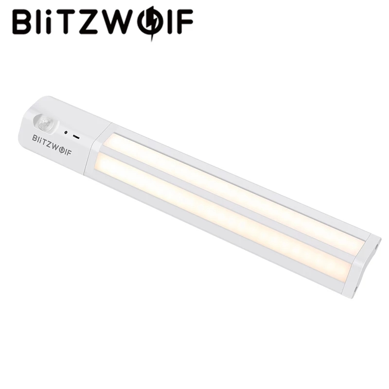BlitzWolf BW-LT8 Motion Sensor LED Under Cabinet Light Removable Lithium Battery 3000K Color Temperature Night Light Warm White