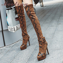 цены Meotina Winter Thigh High Boots Women Snake Print Buckle Thin Heel Over The Knee Boots Slim Stretch Super High Heel Shoes Ladies
