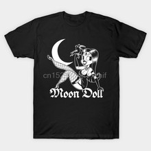 Kaos Pria Bulan Devil Doll Pin Up Pastel Goth Girl 30S Kartun Kaos Wanita T Shirt(China)