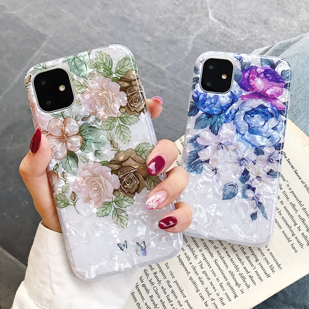 LOVECOM Retro Floral Ring Stand Phone Case For iPhone Models 20