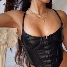 Arctic cat czarny Pu skórzane krótkie bluzki dla kobiet Sexy jednorzędowy Backless sukienka typu Bodycon Tank Tops Camis klub Partywear Top bez rękawów
