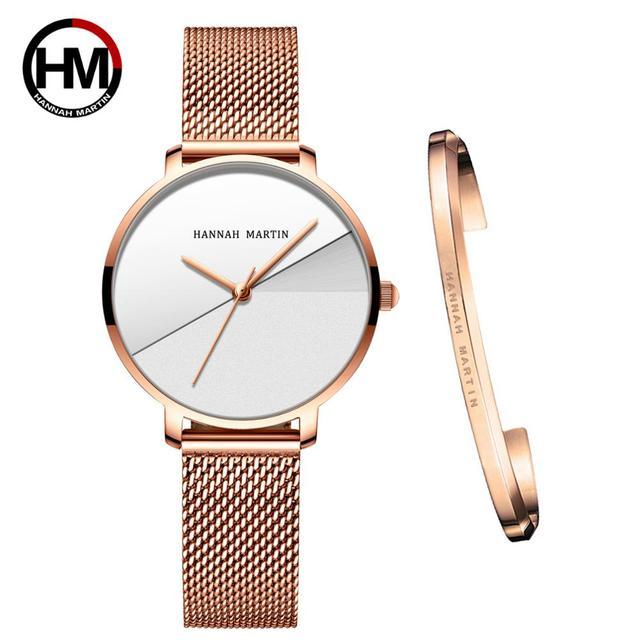 Женские часы топового бренда, роскошные японские кварцевые наручные часы, индивидуальная из нержавеющей стали с Соединенным циферблатом