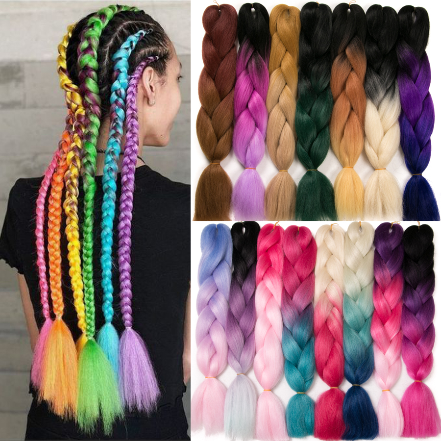 24'' 100g Ombre Synthetic Braiding Hair Extensions For Crochet Braids Jumbo Braids Two Tone Ombre Color Pink Black