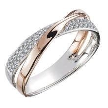 Huitan yeni taze iki ton X şekli iç içe yüzük kadınlar için düğün moda takı göz kamaştırıcı CZ taş büyük Modern yüzük Anillos