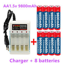 8pcs New Tag AA battery 9800 mah rechargeable battery AA 1.5 V Rechargeable New Alcalinas drummey +1pcs 4-cell battery charger