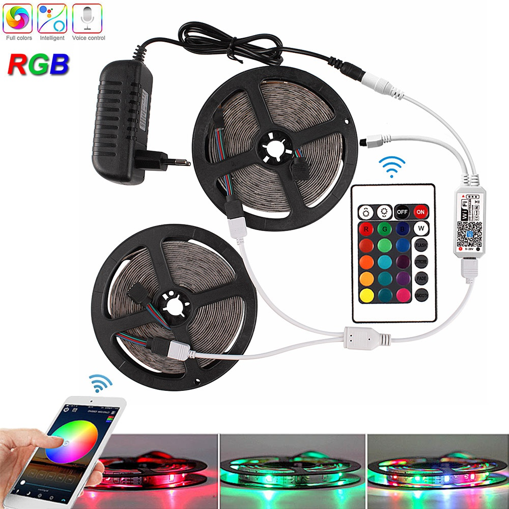 RGB Led Strip Light 2835 5M 10M 15M DC 12V Waterproof WiFi Diode Tape Flexible Ribbon Fita Tira LED Neon Strips Remote + Adapter