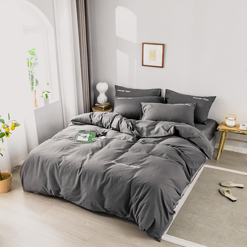 Solid Color Bedding Set Pure Cotton A/B Double-sided Pattern  Simplicity Bed Sheet, Quilt Cover Pillowcase 4-7pcs