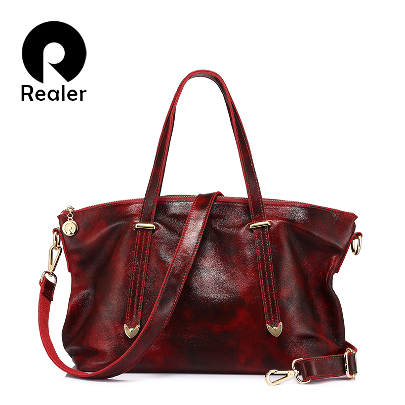 REALER Genuine Leather Bag For Women Tote Fashion Women Handbag Female Large Shoulder Crossbody Bags High Quality Solid Handbag