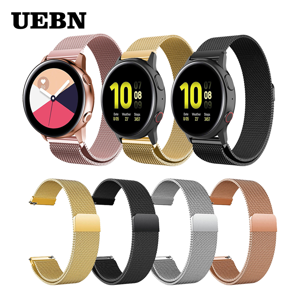 UEBN 20mm Metal Milanese Loop Band  For Samsung Galaxy Watch Active 2 44mm 40mm Wrist Strap Bracelet Smart Watchbands
