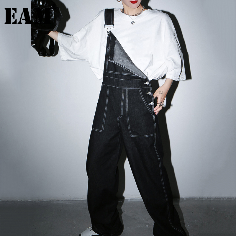[EAM] Black Line Stitch Long Overalls Wide Leg Jeans New High Waist Loose Women Trousers Fashion Tide Spring Autumn 2020 1S213