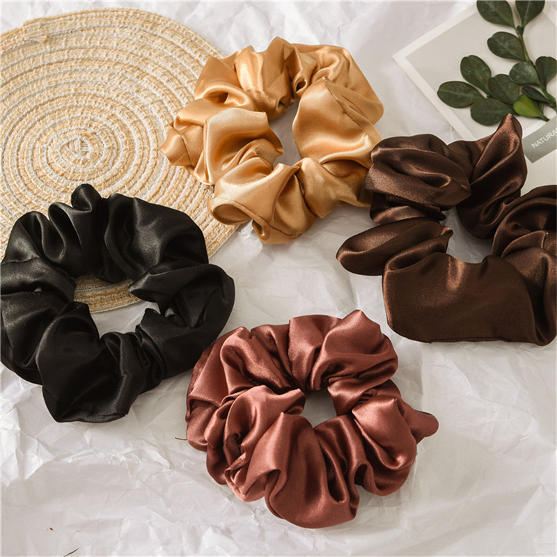 Fashion Solid Color Reflect Light Hair Scrunchies Ponytail Holder Soft Stretchy Hair Elastic Rope Accessories For Women Hairband