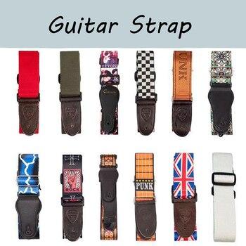 цена на Durable Guitar Strap Adjustable Acoustic Electric Bass Strap Guitar Belt Adjustable Colorful Printing Nylon Straps Guitar Parts
