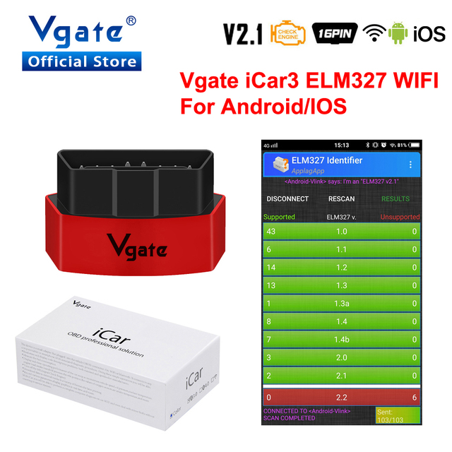 Vgate iCar3 קוד קורא Elm327 אבחון כלי Wifi גרסת תמיכה OBD2 פרוטוקול רכב elm 327 מקורי iCar3 עבור IOS/ אנדרואיד