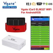 Vgate iCar3 Kod Okuyucu Elm327 teşhis Aracı Wifi sürüm Desteği OBD2 Protokolü Araç elm IOS için 327 Orijinal iCar3/ android