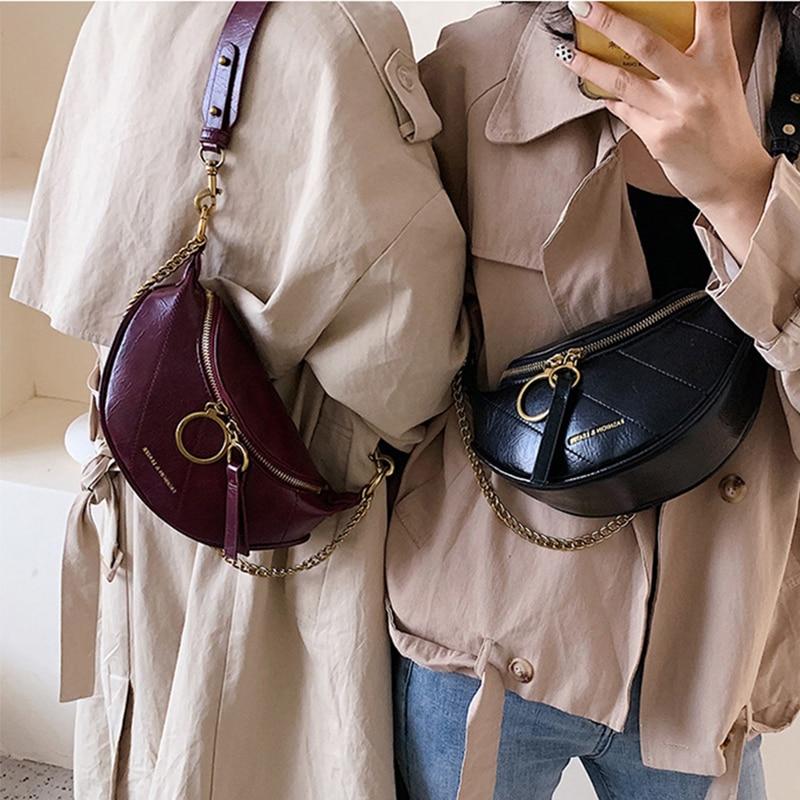 Women's Zipper LeatherPU Crossbody Bags Shoulder Bag For Women  Wallet Handbag Bagssac Main Femme Purse High-end Brand Chest Bag