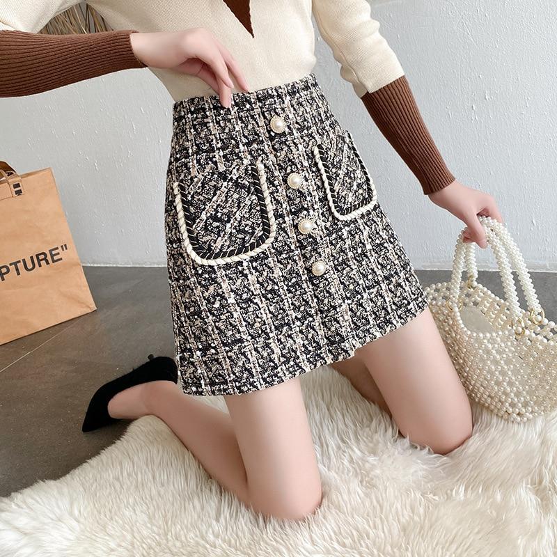 Hepburn style New retro elegant Skirt Women 2021 autumn  winter high waist woolen bag hip A-line skirt temperament Skirt Female