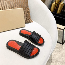 Slippers Beach-Sandals Rivets Flip-Flops Outdoor Men's Fashion Summer Trend 38 Orange