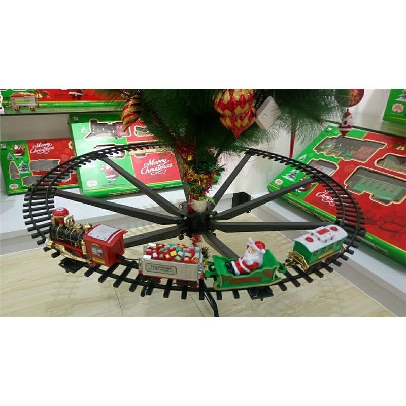 Украшение для рождественской елки, рама для поезда, Рождественский поезд, электрические игрушки, железнодорожный автомобиль со звуком свет...