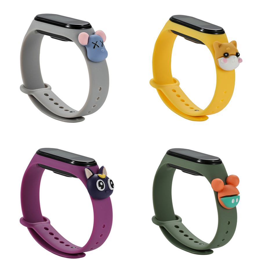 Cartoon Strap For Xiaomi Mi Band 4 3 Replaceable Bracelet Mi Band 4 3 Sports Wristband Breathable Bracelet For Miband 3 4