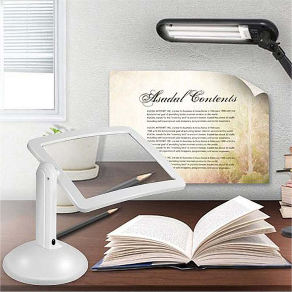 White Desktop Magnifier Plastic Magnifying Glass Standing Style With 2 LED Light